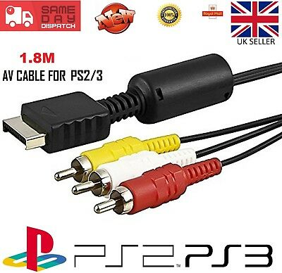Playstation AV Cable PS1 PS2 PS3 NEW RCA Audio Video Composite TV Lead Sony 1.8m