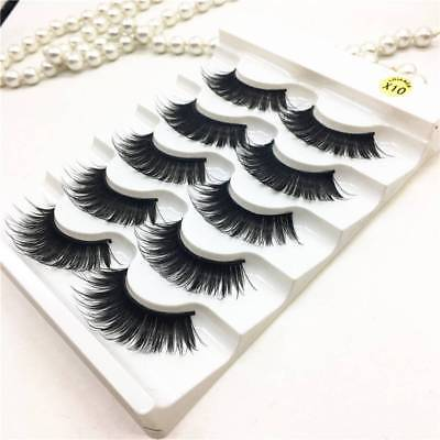 5 Pairs 100% Real Mink 3D Volume Corner Thick False Eyelashes Strip Lashes