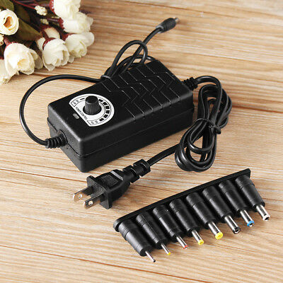 100-240AC 24-36V Adjustable Power Adapter Supply Speed Control Switch + 8 Tips