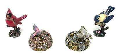 Beautiful Lot of 4 Crystal Jeweled Enamel Trinket Pill Boxes Birds Butterfly C