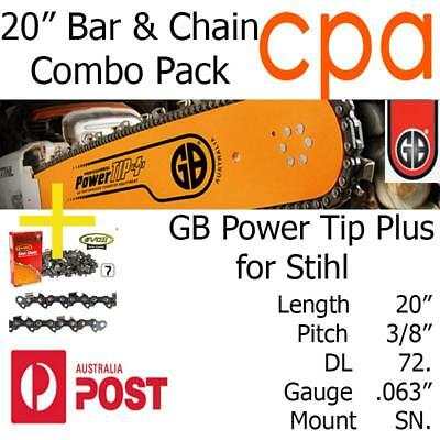 """20"""" GB Chainsaw Bar & Chain Combo Power Tip+  3/8"""" DL72 .063"""" for Stihl"""
