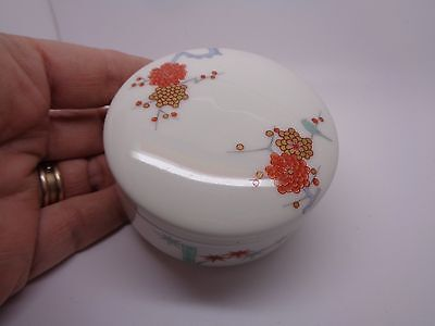 FUKAGAWA PORCELAIN LIDDED POT WITH BAMBOO FLOWERS AND  BIRD JAPAN ORENTAL(ref63)