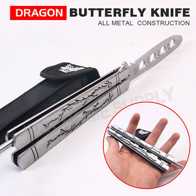Dragon Ssangyong Balisong Stainless Dull Trainer Practice Butterfly Knife Comb