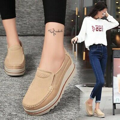 AU Women Suede Round Toe Slip On Platform Shoes Wedge Casual Creepers Breathable
