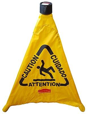 Rubbermaid Pop Up Safety Cone Caution Warning Hazard Sign Multilingual Wet Floor