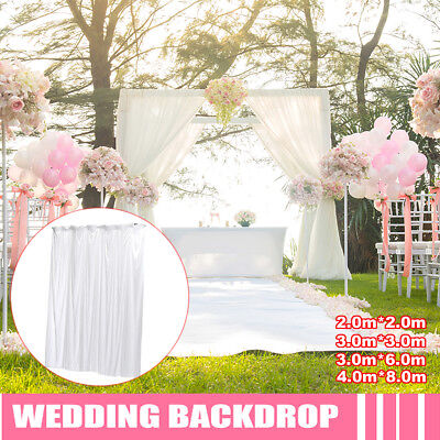 3 Sizes White Stage Wedding Party Backdrop Photography Background Drape Curtains