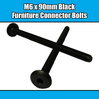 M6 x 90mm Black Furniture Connector Bolts Allen Joint Fixing Bed Cot Unit Table