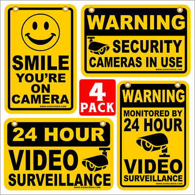 24 HOUR VIDEO SURVEILLANCE SMILE YOU'RE ON CAMERA SECURITY SIGNS 8x12  4 PACK