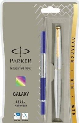100% GENUINE PARKER Galaxy Ss Steel Gt Roller Ball Pen - New - Gold Trim