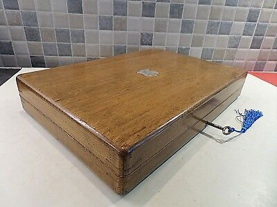 Vintage Solid Oak Box With London Hallmarked Solid Silver Cartouche- Lock & Key