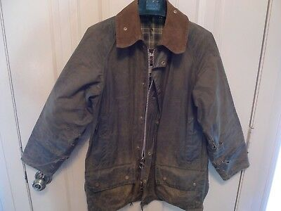 Barbour - A150 Beaufort Waxed Cotton Jacket-Sage-Made@ Uk-Shabby Chic--Size 34