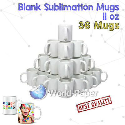 36 Sublimation Mugs Double Layer Coated 11oz Plain White Tea, Coffee
