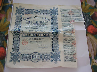 France French 1926 Banque Vallee Rhone 500 Francs Coupons UNC Bond Share Loan