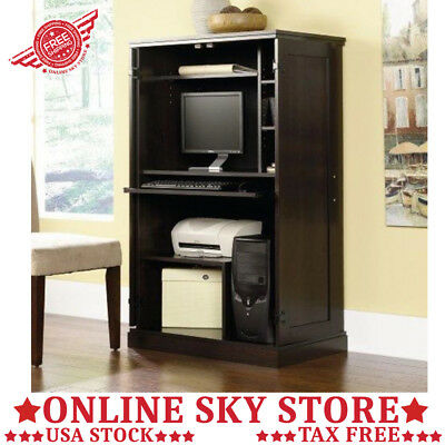 Computer Storage Armoire Desk Office Keyboard CPU Tray Printer Hutch  Apartment