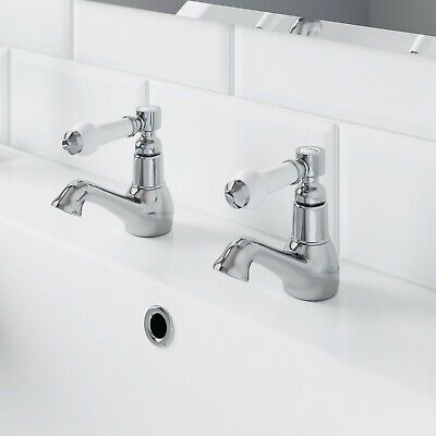 Traditional Bathroom Hot & Cold Twin Basin Taps Chrome Ceramic Lever Handles