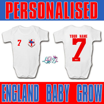 Personalised England 2018 Football Baby Grow | Football Baby Romper | World Cup