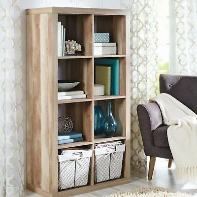 bookcase cubby sauder cannery wall living bookshelf room or office storage bridge products unit