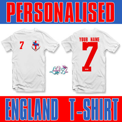 Adults Personalised England 2018 T Shirt | Football Team T-Shirt World Cup 2018