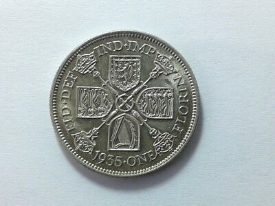 Great Britain Florin 1935 Silver Coin in About Uncirculated Condition #USB