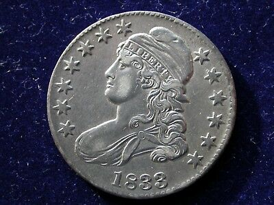 1833 Capped Bust Silver Half Dollar, Choice AU+ No Reserve**Free Shipping!