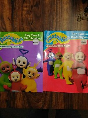 Vintage  Teletubbies Lot Of Two Giant Coloring Books 2001 unused