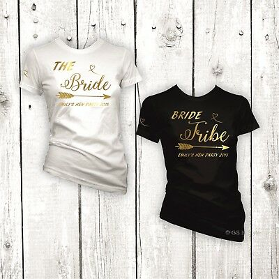 Personalised Hen Do Party Bride Tribe T-Shirt Ladies Fit Foil Gold Print Tee Top