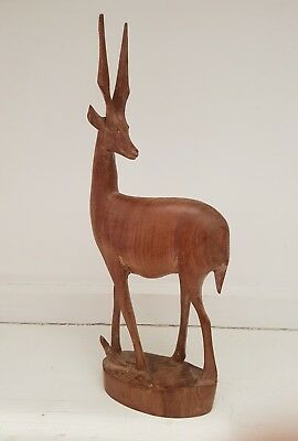 VINTAGE RETRO MCM 70s Large Teak Gazelle Figurine/ Ornament- Animal- Kitsch