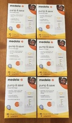 Medela Pump & Save Breastmilk Bags Set of 6 boxes with 20 bags in each NEW