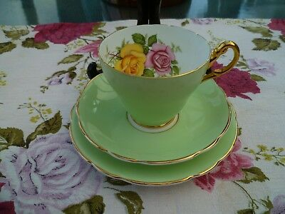 Lovely Edwardian China Trio Tea Cup Saucer Plate Apple Green Harlequin Roses