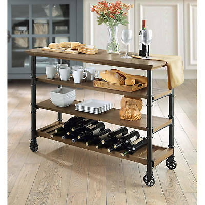 Rolling Kitchen Island Cart On Wheels Rustic Wood TV STAND Wine Rack Home  Bar