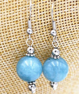 New 12mm Jewelry & aquamarine blue Tibet Sterling Silver Stud Earrings