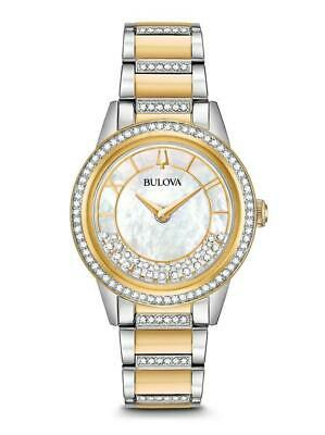 Bulova Women's White Mother of Pearl Dial Crystals TurnStyle Watch 98L245