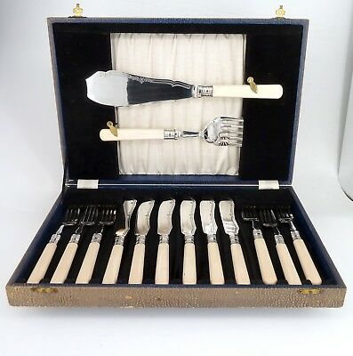 Silver Art Nouveau Canteen Of Cutlery 14 Piece Cased