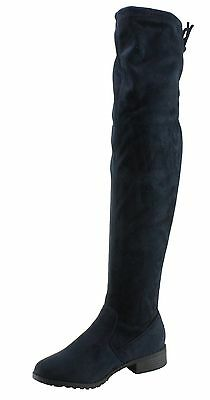 d8fd822f113 Forever Women s Jalen-H4 Faux Suede Drawstring Low Heel Over the Knee Boots