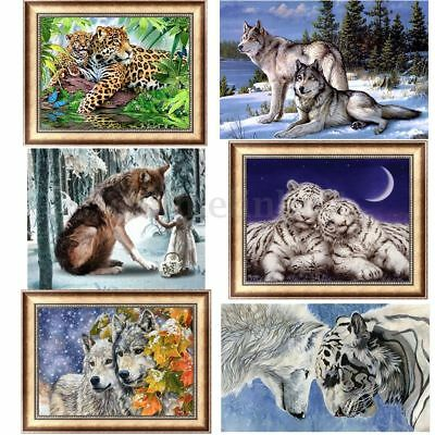UK DIY 5D Diamond Painting Wolves Tiger Animals Cross Stitch Craft Home Decor