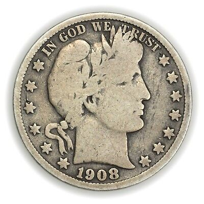 1908-S Barber Half Dollar, Large, Early Type Silver Coin [3653.01]