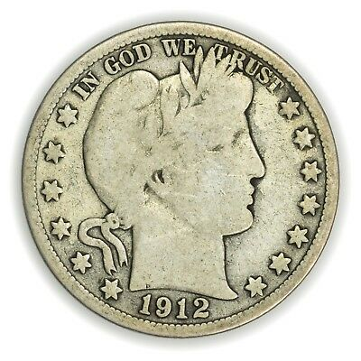 1912-S Barber Half Dollar, Large, Early Type Silver Coin [3653.13]