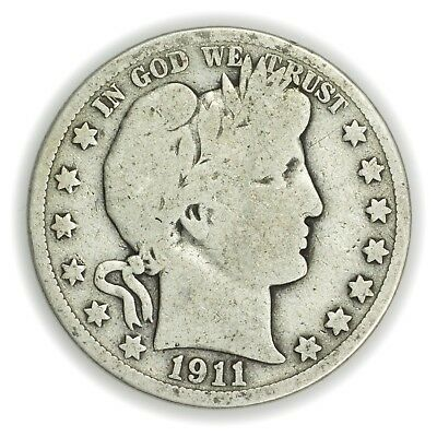 1911 Barber Half Dollar, Large, Early Type Silver Coin [3653.02]