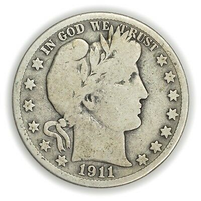 1911 Barber Half Dollar, Large, Early Type Silver Coin [3653.10]
