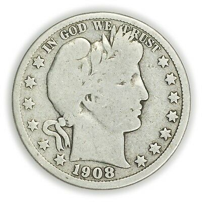 1908-D Barber Half Dollar, Large, Early Type Silver Coin [3653.06]