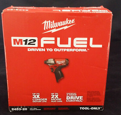 "Milwaukee M12 2453-20 Fuel Brushless 1/4"" Hex 2-speed Battery Impact Driver NEW"