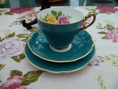Lovely Edwardian China Trio Tea Cup Saucer Dark Turquoise Harlequin Roses
