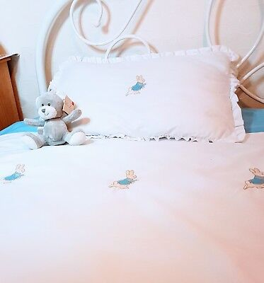 Personalised Peter rabbit, single duvet, in blue or pink. Embroidered, handmade