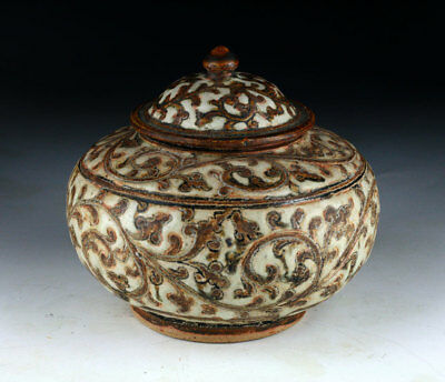 *SC*NORTHERN THAILAND LIDDED STONEWARE POTTERY JAR, 14th-15th CENT AD!!