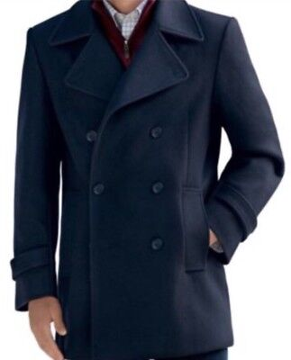 $495 Jos A Bank Mens Navy Blue Wool Blend Double Breasted Pea Coat Medium NWT