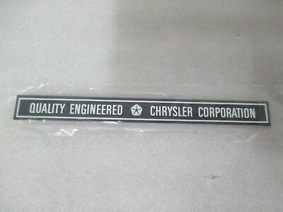 Mopar NOS 1980's QUALITY ENGINEERED CHRYSLER CORPORATION Scuff Plate Decals SCUF