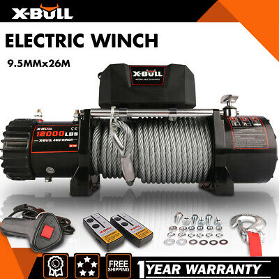 X-BULL 12V Electric Winch 13000LBS Towing Truck Trailer Steel Cable Off Road 4WD
