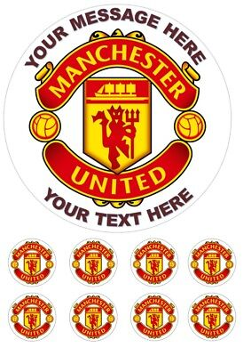 "Manchester United Personalised Cake Topper 7.5"" Edible Wafer / Icing Sheet"