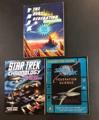 Star Trek Book Lot 3  Chronology Federation Science Tng Season Guide 3Rd Ed Kirk