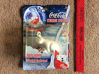 NEW 1998 Coca-Cola stocking stuffers Coke Sled Bears pull us back then let us go